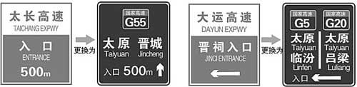 山西高速公路更换路牌标志图例