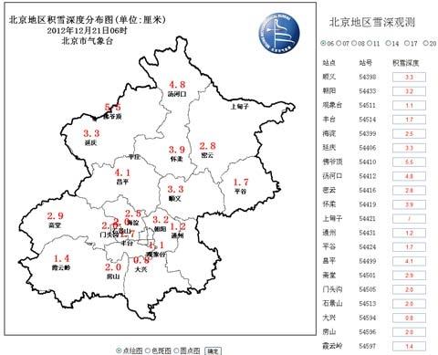北京地区积雪深度分布图