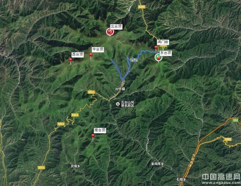 五台山百度卫星地图上位置分布示意图